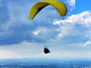 person falling with parachute